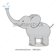 Cute cartoon baby elephant spraying water from his nose. Vector illustration