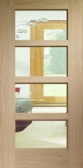 Modena / Contemporary / Shaker Oak Clear Glazed Internal Doors for the hallway door