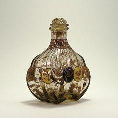 1880s Emile Galle art nouveau perfume bottle and stopper.