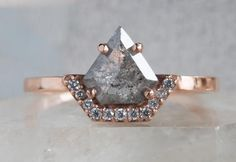 One of a Kind Geometric Diamond with Half Pavé Halo Setting :: Alexis Russell
