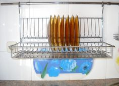 Inspiration Ideas Incredible Wall Mounted Stainless Steel Dish Rack Hang On White Porcelain Backsplash In Modern Kitchen Accesories Designs Indulging Yet Pretty Dish Rack Best Dish Drainer Gallery