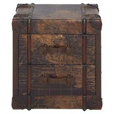 """Showcasing 2 drawers and a wood frame, this distressed chest is a perfect addition to your living room or den.  Product: ChestConstruction Material: Wood and metalColor: Distressed brownFeatures:Two drawersDimensions: 20"""" H x 20"""" W x 16"""" D"""