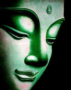 Green Buddha face