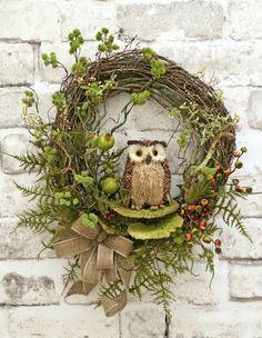 Fall Owl Wreath Fall Wreath for Door Fall by AdorabellaWreaths