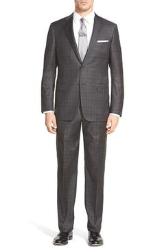 Hickey Freeman 'Beacon' Classic Fit Plaid Wool Suit