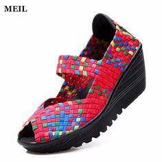 2017 Summer Women Platform Sandals Shoes Women Woven Shoes Flat Shoes Women Multi Colors Ladies Shoes