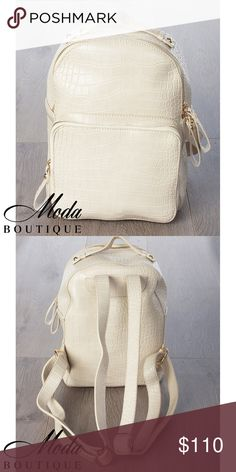 3x #MODA7356BP Ivory Croc Backpack 3 pieces.   Unisex Ivory Modern Student Faux Leather Backpack  Discounts available on larger orders.   (For individual pricing visit our retail Poshmark account @modabyboutique) Boutique Clothing Wholesales @wholesales MODABYBOUTIQUE LV Designs Bags Backpacks