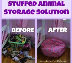 DIY Stuffed Chair  An even easier DIY project — just put the stuffed animals inside of a beanbag cover. Genius!