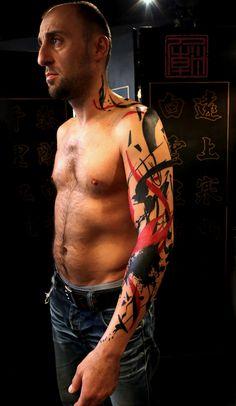 Artist: Jamie Kam (Tattoo Temple) ~ Style: Stripes (Black & Red) ~ Type: Full Sleeve