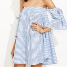 D E S C R I P T I O N                                    Striped Off The Shoulder Swing Dress  C O N T E N T 100% Cotton  A T T R I B U T E S  Off The Shoulder Wide 3/4 Sleeves Mini length  F I N I S H  T H E  L O O K Hello Resort 2017. Pair it with your favorite pom sandals and oversized straw hat, throw on your shades and you're ready for the beach