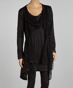 Take a look at this Black Crochet Layered Tunic Dress - Plus by Pretty Angel on #zulily today! $45 !!