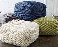POUF, THERE IT IS! Ok, so who doesn't love a good pouf? If you aren't into poufs, I'd love to hear your argument.and I promise to do my best to respect your anti-pouf insight and not think you're. Pouf Ottoman, Pouf En Crochet, Free Crochet, Crochet Pattern, Bobble Crochet, Free Pattern, Knitting Patterns, Floor Cushions, Home Decor