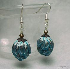 Teal, brown and white flower bud earrings.   Blog  | Twitter | Facebook
