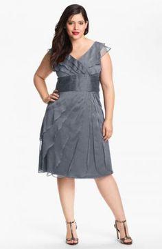Adrianna Papell Chiffon Petal Gown Plus Size cocktail dresses - Smoke.jpg