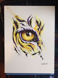 Tiger eye watercolor and ink