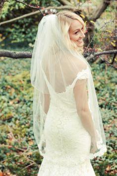 Amanda fingertip length veil with alencon lace- Jaclyn Jordan New York