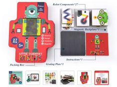 Magnetic Robot Creation Game with Moving Parts Games Box, Board Games, Robot Components, Create Your Own Robot, Gender Neutral Toys, Robot Images, Steam Toys, Robot Parts, Interactive Board