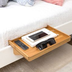 A Space-Saving, Minimalist Nightstand handcrafted in eco-friendly bamboo. SAVES SPACE Small Space Solution for Small Homes, Lofted Beds, Bunk Beds and College Dorms SMART DESIGN Features a clean, mini