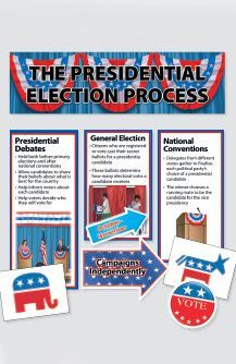 "Prepare students for the 2016 Presidential Election with the Presidential Election Process Mini Bulletin Board, 6"" Vote Button Cut-Outs, and various resource books!"
