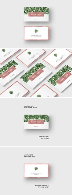 "Business Card ""Monstera & Rosegold"" by AgataCreate on @creativemarket"