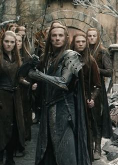 """Recall your Company"".--  The reaction of Thranduil's Guards as Tauriel attempts  to make him countermand the order."