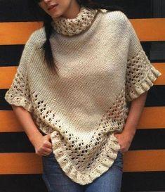 como-tejer-un-poncho-lana. Poncho Lana, Poncho Shawl, Knitted Poncho, Knitted Shawls, Crochet Shawl, Knit Crochet, Beautiful Crochet, Knitting Stitches, Shawls And Wraps