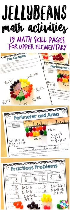 """""""This was a fabulous find! We used as centers for review for state testing. The students loved it! They asked to do more!"""" This Easter Math Project contains 19 printable math activities to use with jellybeans.  Skills covered: operations, number sense, patterns, multiples, factors, mean, fractions, decimals, pie graphs, coordinate plane, measurement, area, perimeter, and more! Ideal for grades 4-6."""