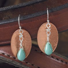 Tooled Copper Earrings