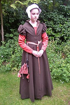 1540s middleclass girl's costume made for education sessions at the Tower of London. Based on female figures depicted in the c18th copy of the c16th engraving of the Coronation of Edward VI, at Cowdray House.