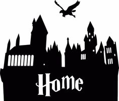 Exquisite Hogwarts Silhouette HOME Castle Style Sticker Decal Harry Potter Harry Potter Stencils, Harry Potter Font, Harry Potter Nursery, Harry Potter Classroom, Harry Potter Drawings, Harry Potter Silhouette, Hogwarts Silhouette, Castle Silhouette, Chateau Harry Potter