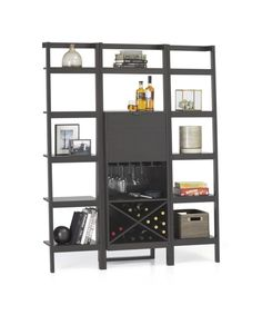 Sawyer Grey Leaning Wine Bar with Two 18'' Bookcases | Crate and Barrel