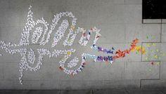 Tipografía origami, arte en la calle