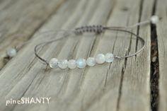 Moonstone Yoga Bracelet, Crystal Healing Bracelet, Minimalist Jewelry, Grey, White, Fertility Meditation Bracelet, Childbirth Bracelet