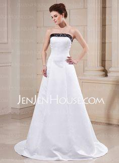 Wedding Dresses - $167.99 - A-Line/Princess Strapless Chapel Train Satin Wedding Dresses With Sashes Beadwork (002000068) http://jenjenhouse.com/A-Line-Princess-Strapless-Chapel-Train-Satin-Wedding-Dresses-With-Sashes-Beadwork-002000068-g68