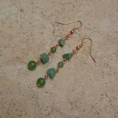 Green Aventurine Copper Earrings TheGemGirlJewelry - $13.50