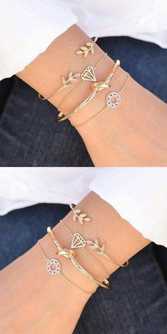 Cute Personality Leaf Diamond Open Four Piece Women Bracelet #bracelet #leaves