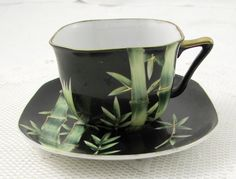 Shafford Black Tea Cup and Saucer with Bamboo Hand Painted, Vintage Bone China