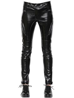 EACH X OTHER - COATED VINYL & STRETCH LEATHER PANTS - LUISAVIAROMA - LUXURY SHOPPING WORLDWIDE SHIPPING - FLORENCE