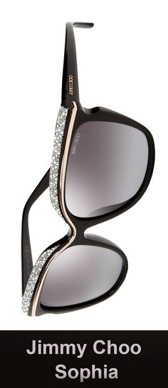 Jimmy Choo Sunglasses - Sophia/S / Frame: Black Lens: Gray Gradient Versace Sunglasses, Luxury Sunglasses, Cool Sunglasses, Sunnies, Jimmy Choo Glasses, Jimmy Choo Shoes, Body Type Clothes, Sunglasses Women Designer, Womens Glasses