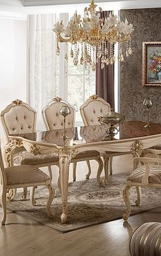 Classic Dining Room Furniture, Dining Room Table Decor, Elegant Dining Room, Luxury Dining Room, Dining Table Design, Room Decor, Traditional Dining Room Sets, Glamour Living Room, Luxury Italian Furniture