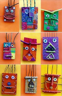 recycled art for kids mask idea Projects For Kids, Art Projects, Crafts For Kids, Arts And Crafts, Art Crafts, Kindergarten Art, Preschool Art, Kindergarten Sculpture, Childrens Workshop