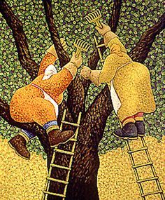 Olive Harvest by Lowell Herrero Born in California in Lowell Herrero enjoyed art as a child and wanted to create pieces that added unusual elements to realistic settings. Fabric Painting, Painting & Drawing, Olive Harvest, Art Brut, Arte Popular, Naive Art, Old Women, Graphic, Folk Art