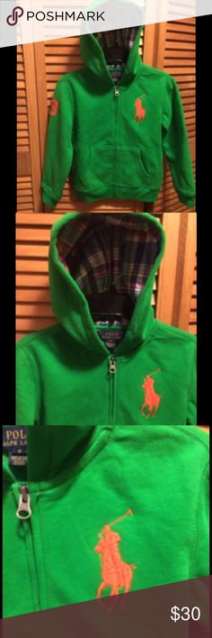 "Ralph Lauren Green Big Pony Hoodie Green hoodie with a zippered front, orange big pony logo with and orange ""3"" on the right sleeve, front pockets, and plaid lining in the hood. Size youth 6. 87% cotton 17% polyester. New wth missing tag. Polo by Ralph Lauren Shirts & Tops Sweatshirts & Hoodies"