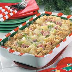 Hearty Ham Casserole Recipe -I first made this filling casserole for a camping trip with friends, adding potatoes and soup to stretch the recipe. It was a big hit. It's a great all-in-one meal that's sure to please your hungry eaters all year-round. Ham Casserole, Casserole Dishes, Casserole Recipes, Asparagus Casserole, Ham Recipes, Cookbook Recipes, Cooking Recipes, Amish Recipes, Dutch Recipes