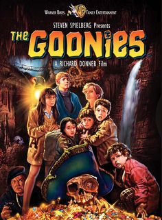 THE GOONIES - Produced by Steven Spielberg - Directed by Richard Donner - Warner Bros. - DVD cover art.