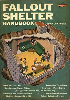 Fallout Shelter Handbook by Chuck West. Topics include: diets and food kits; surviving an atomic attack; underground shelters you can build or buy; basement and garage shelters; medical hints and first aid; evacuation techniques; soures of water supply; above-ground shelters; fallout detection devices; and a guide for teens on discreet self-pleasuring when privacy is impossible.