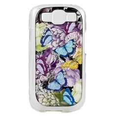 NEW DEBBIE BROOKS GALAXY S3 CLEAR COVER BLUE PURPLE BUTTERFLY SWAROVSKI CASE #DEBBIEBROOKS