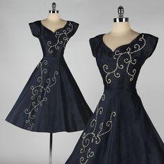 vintage 1950s dress . blue silk . wood beads by millstreetvintage, $185.00