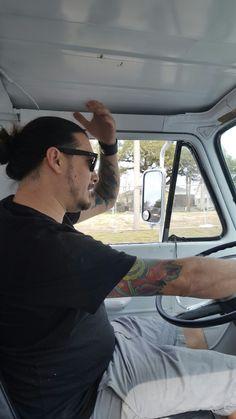 Me cruising around in the Mojo van
