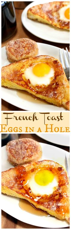 Golden French toast sprinkled with sugar and cinnamon and topped with perfectly cooked eggs baked right in the middle.